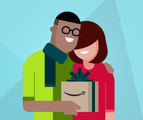 illustration of a man and a woman with a gift amazon prime