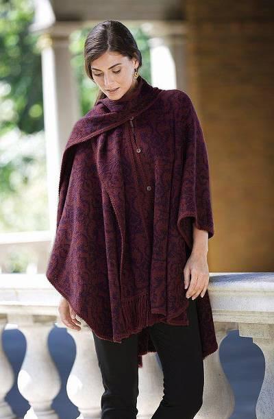 woman in burgundy ruana and scarf
