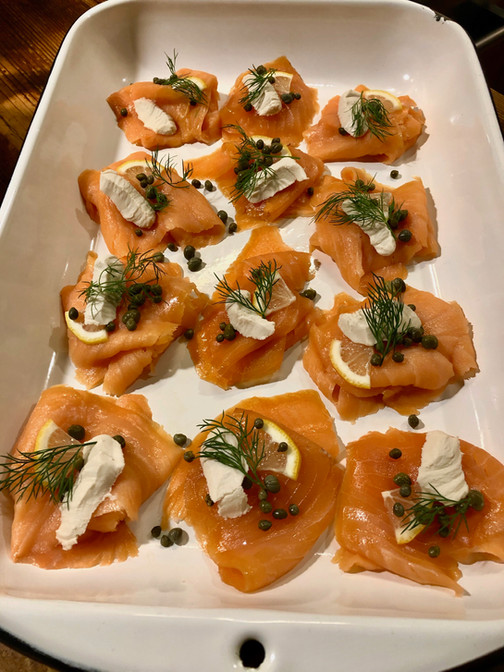 smoked salmon, cream cheese, lime and dill