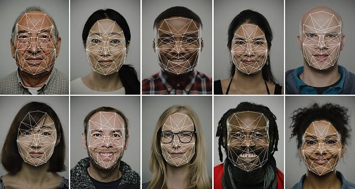 Facial recognition software scans of a diverse group of people.