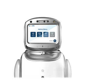 Service robot in the foreground displaying 'Admin Menu'.