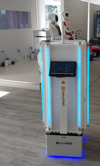 Disinfection Service Robot with UV-C lights on