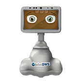Tabletop service robot with swiveling screen displays smiling face.
