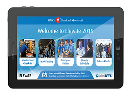 Two tablets and a service robot displaying event application landing page, reading 'Welcome to Elevate 2019'.