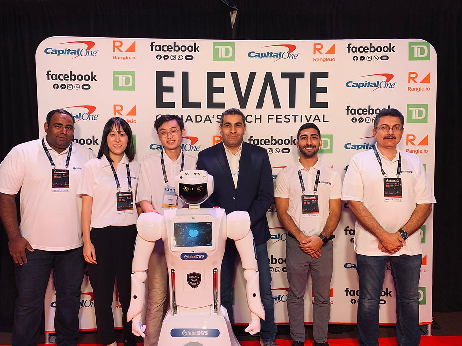 Six GlobalDWS staff smiling at Elevate, Canada's Tech Festival, in front of backdrop.