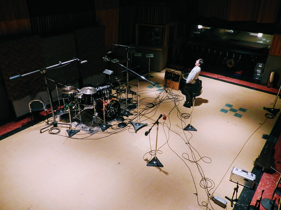 drums set up at East West studio