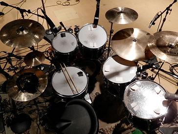 close up of drums in studio
