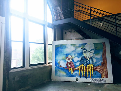 urban artwork in industrial building