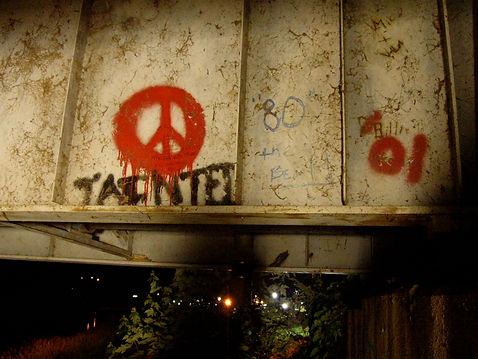 Graffiti under a bridge