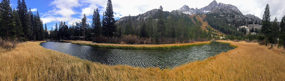 pano of a riverbend in Mammoth, CA