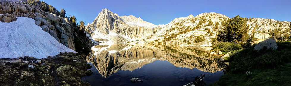 pano of mountain and reflection on lake