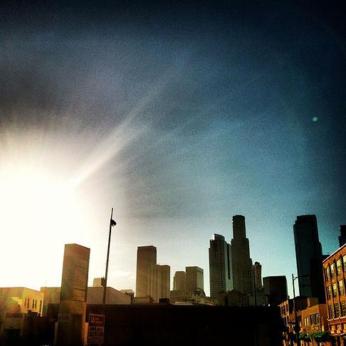 downtown LA at sunrise