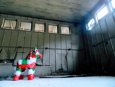 lonely pinata in abandoned building