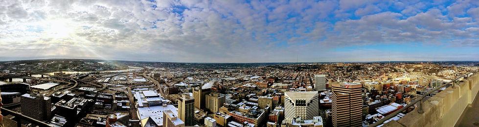 pano on top of Carew Tower in Cincinnati, OH