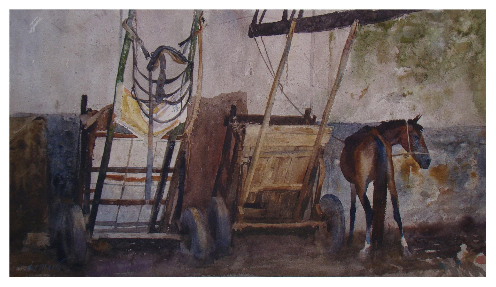 Carroças e cavalo na cocheira