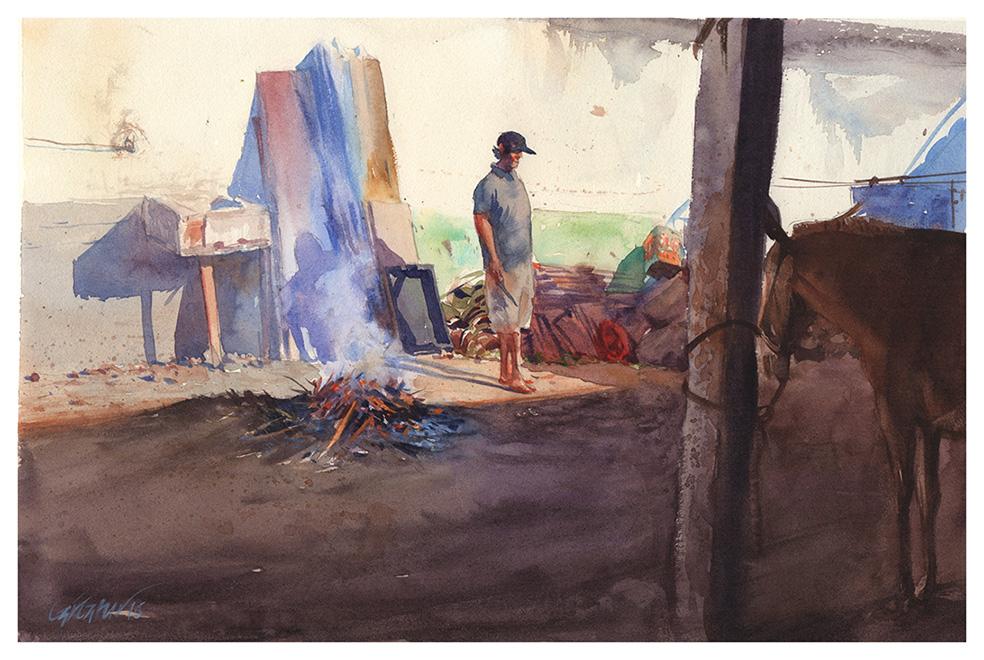 Carroceiro e fogueira /Paraty / 2015
