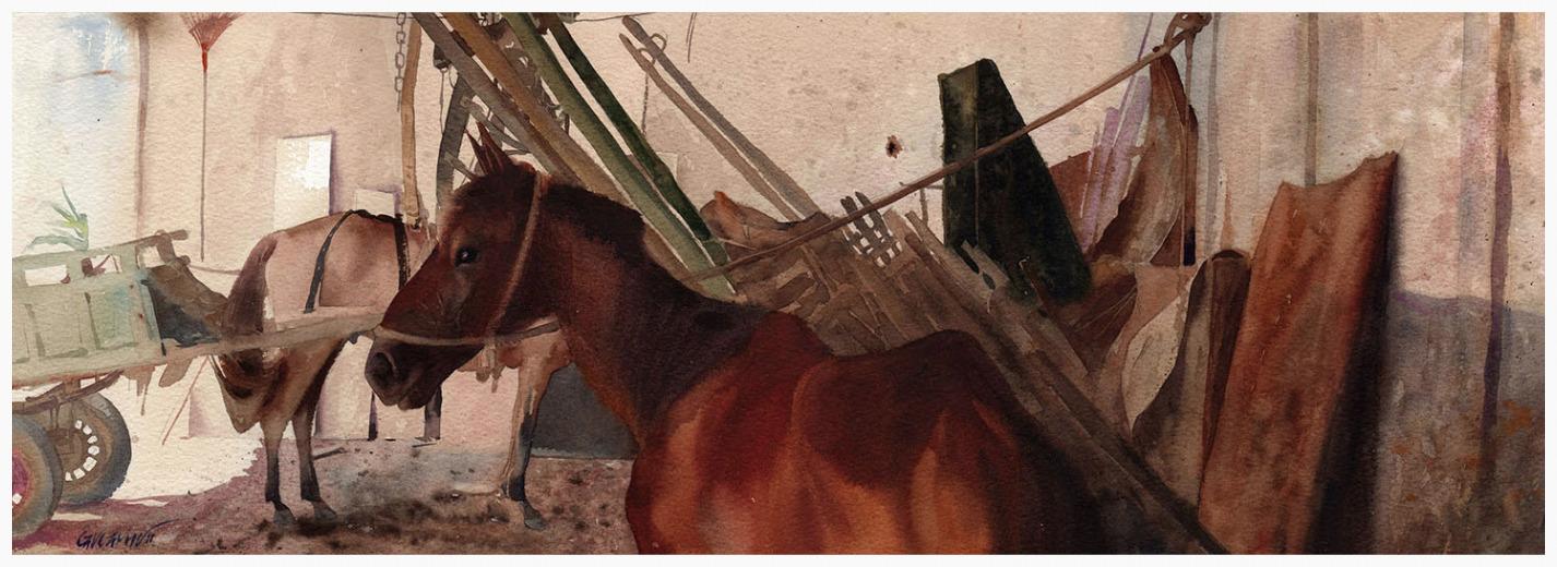 Cavalo na cocheira