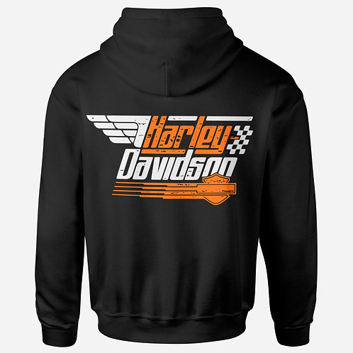 Harley Davidson Orange & Black Hoodie