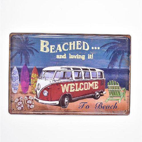 Beached & Loving it VW Camper Retro Embossed Metal Sign