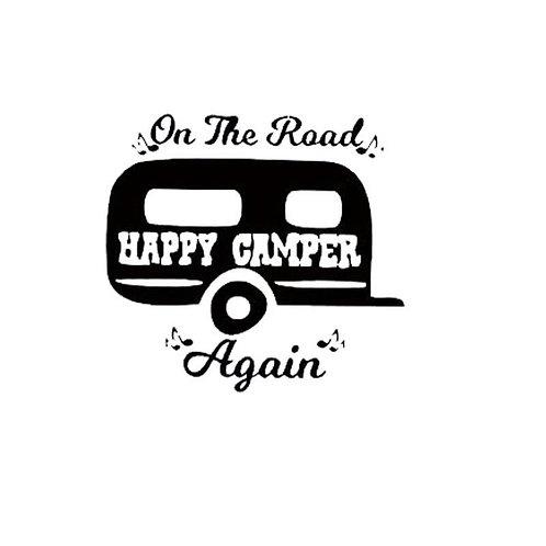 On the Road Again Happy Camper Bumper Sticker