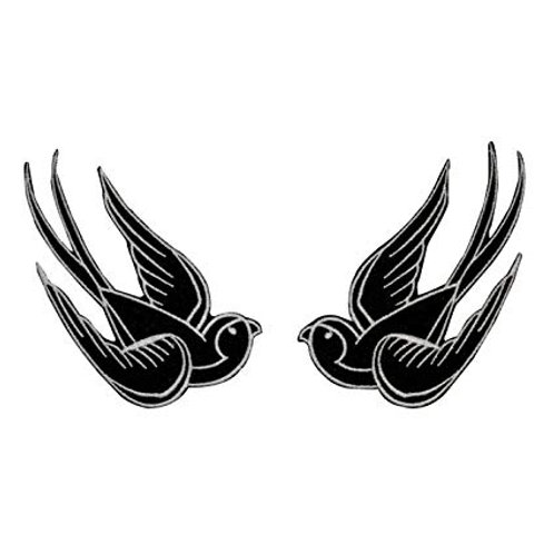 Pair of Swallows Tattoo Style Iron on Badge