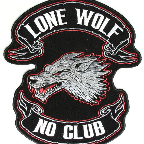 Lone Wolf No Club Iron on Patch