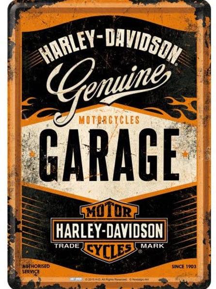 Harley Davidson Garage Metal Postcard