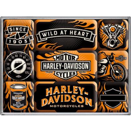 Harley Davidson Garage Magnet Set
