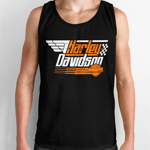 Harley Davidson Orange & Black Tank Top