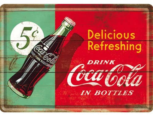 Coca Cola 5 Cents Metal Postcard