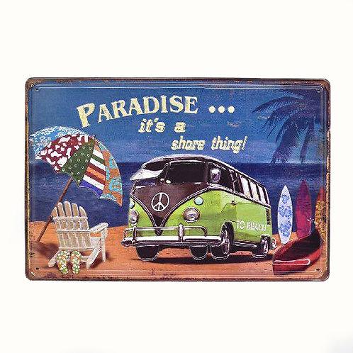 Paradise VW Camper Retro Metal Sign Embossed