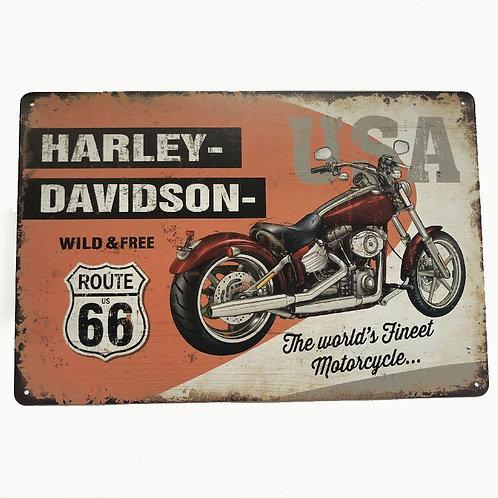 Harley Davidson Route 66 Vintage Retro Metal Sign