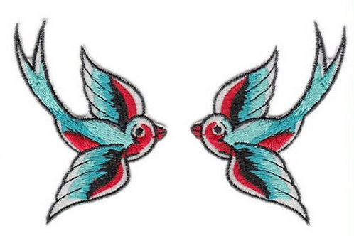 Pair of Swallows Tattoo Style Patch