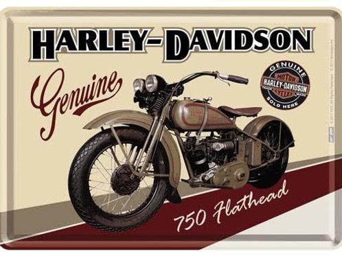 Harley Davidson Flathead Metal Postcard