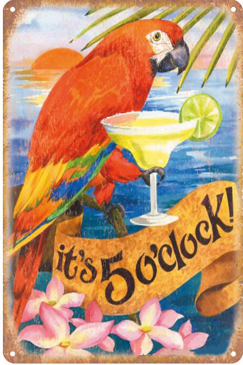 It's 5 O Clock Margaritaville Vintage Retro Metal Sign