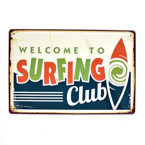 Surf Club Retro Metal Sign