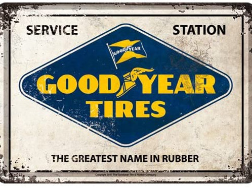 Good Year Tires Metal Postcard