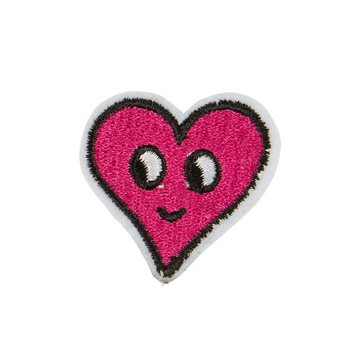 Pink Flirty Face Heart Iron on Patch Accessory