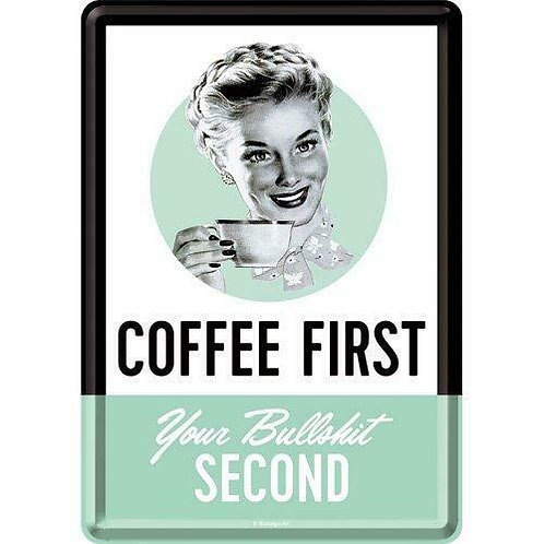 Coffee First Metal Postcard