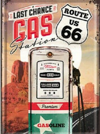 Route 66 Gas Station Metal Postcard
