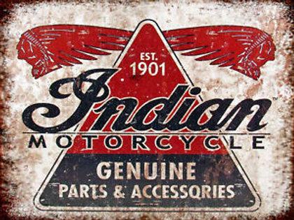 Indian Motorcycle Genuine Parts Metal Sign