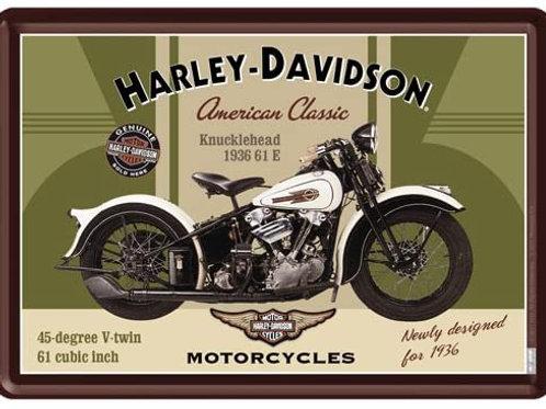 Harley Davidson Knucklehead Metal Postcard