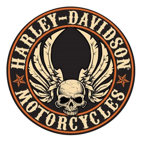 Harley Davidson Round Skull Wings Patch