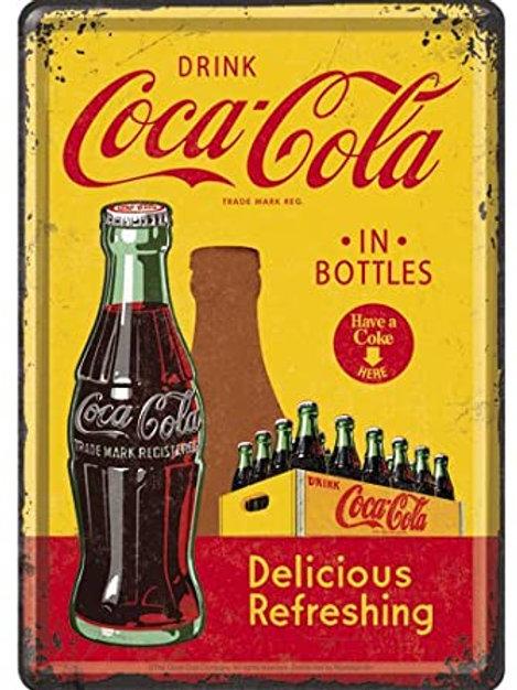 Coca Cola Bottle Metal Postcard