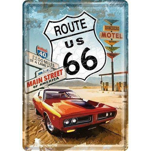 Route 66 Pontiac Metal Postcard