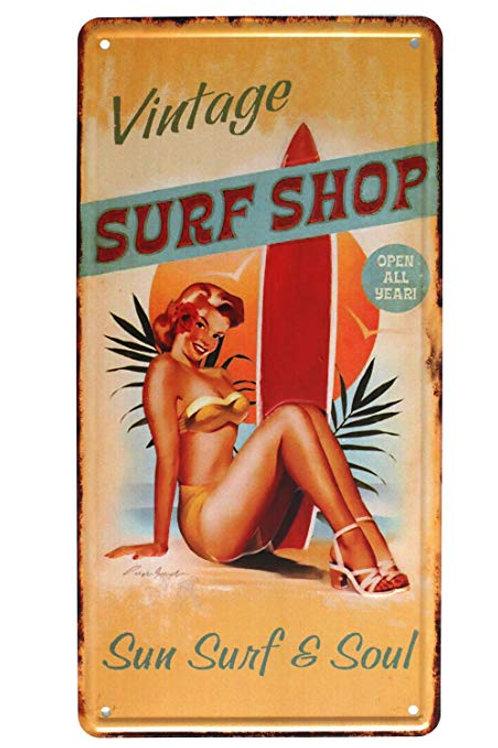 Vintage Surf Shop Retro Metal Sign