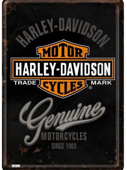 Harley Davidson Badge Metal Postcard