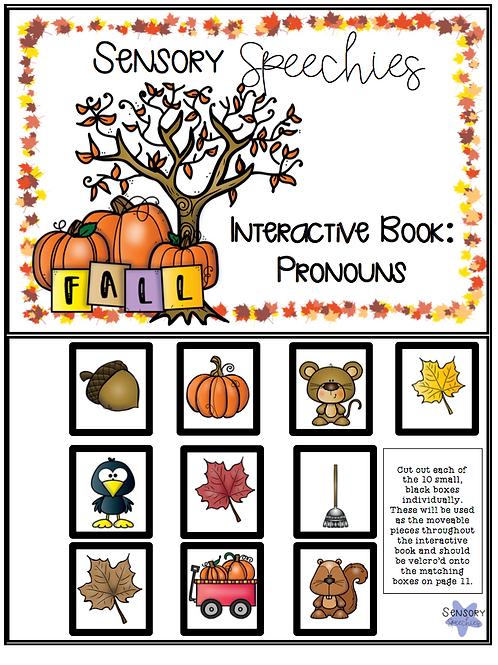Fall Interactive Book ~ Pronouns ~ Digital Download