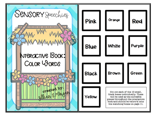 Tiki Interactive Book ~ Color Words ~ Premade