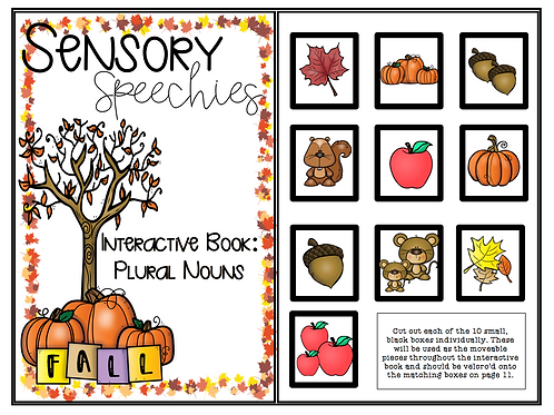 Fall Interactive Book ~ Plural Nouns ~Premade